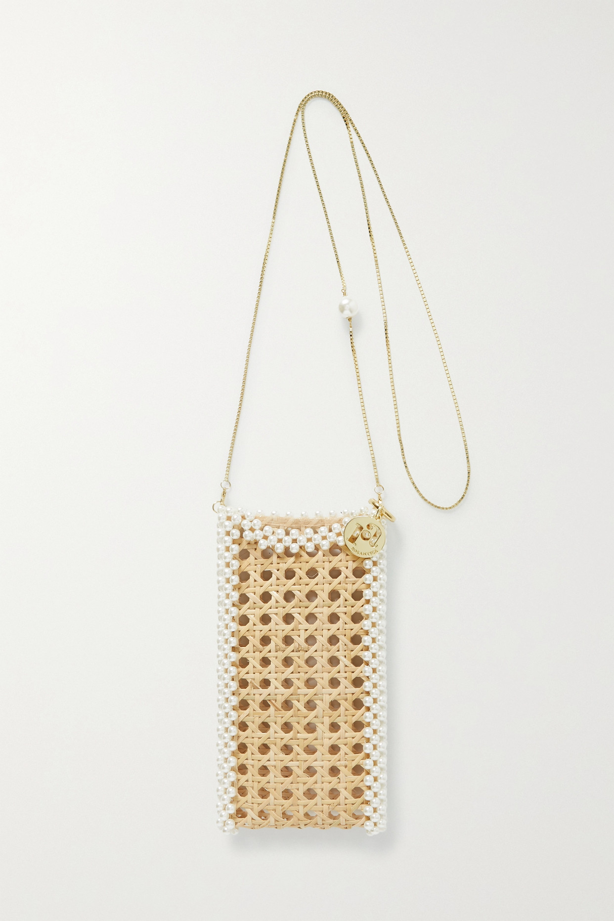 ROSANTICA - Cinderella Oasis Faux Pearl-embellished Wicker Iphone 12 Case - Brown - one size