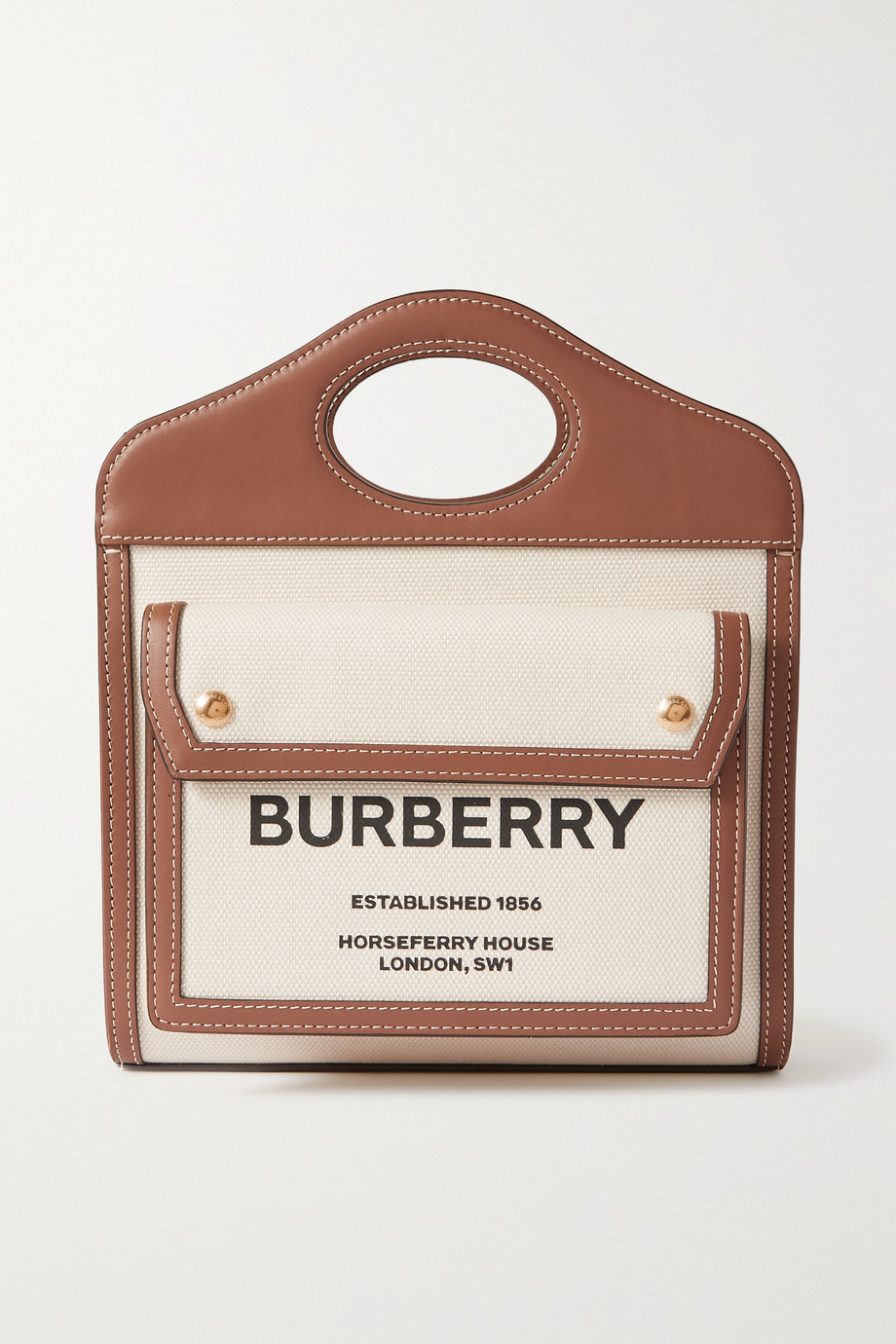 버버리 Burberry Mini leather-trimmed printed canvas tote,White