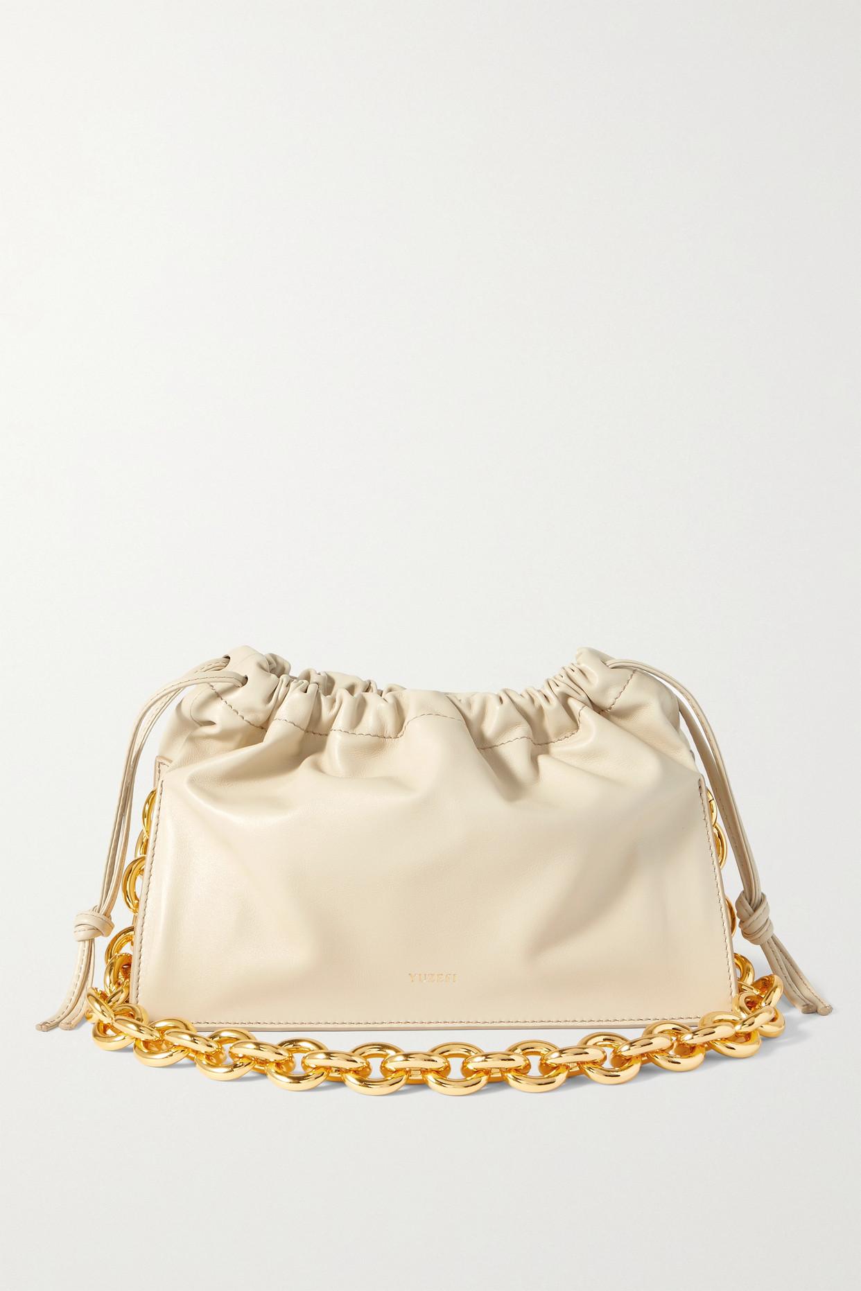 Yuzefi Bom Leather Shoulder Bag In Off-white