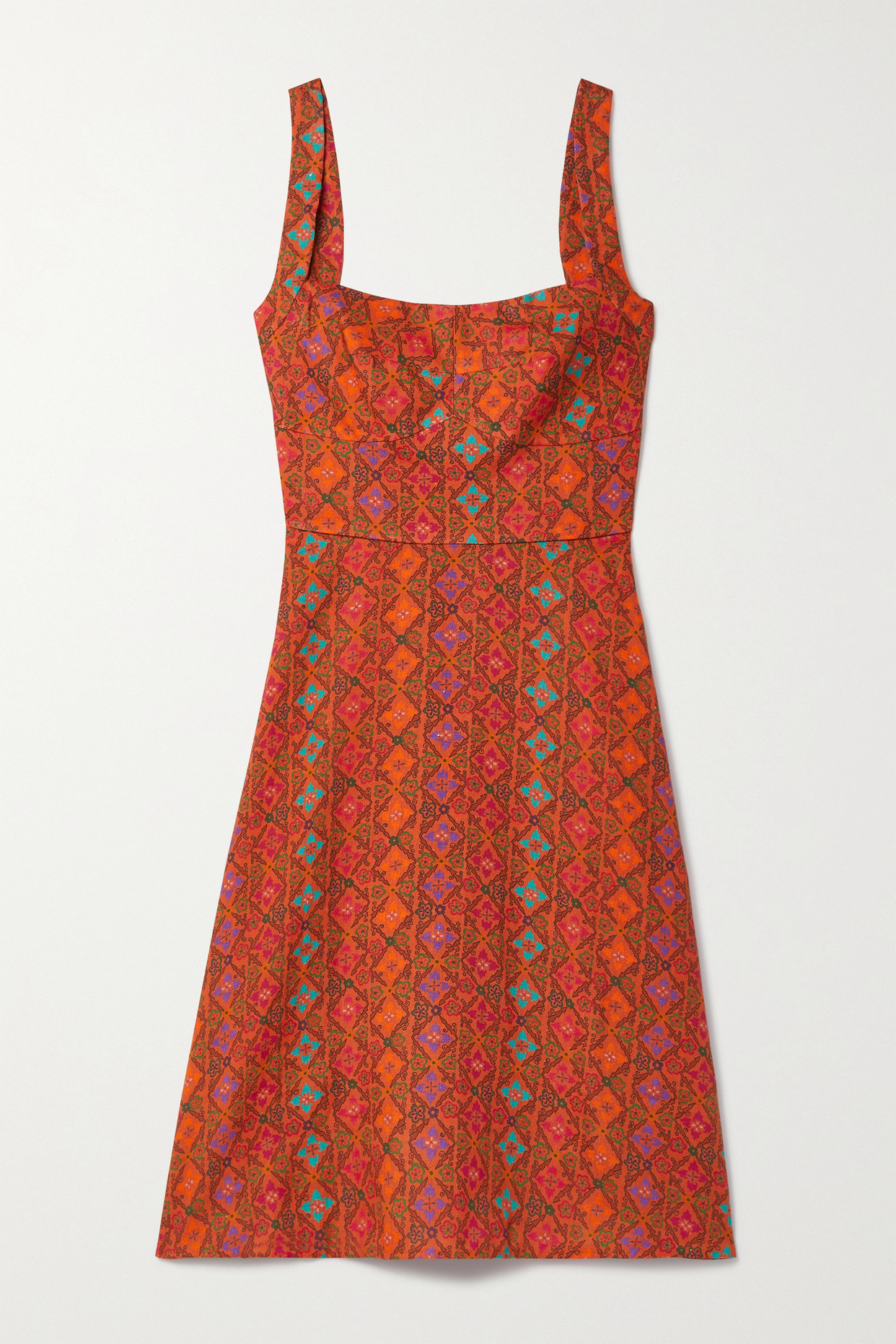 Saloni Rachel Printed Linen Mini Dress In Red