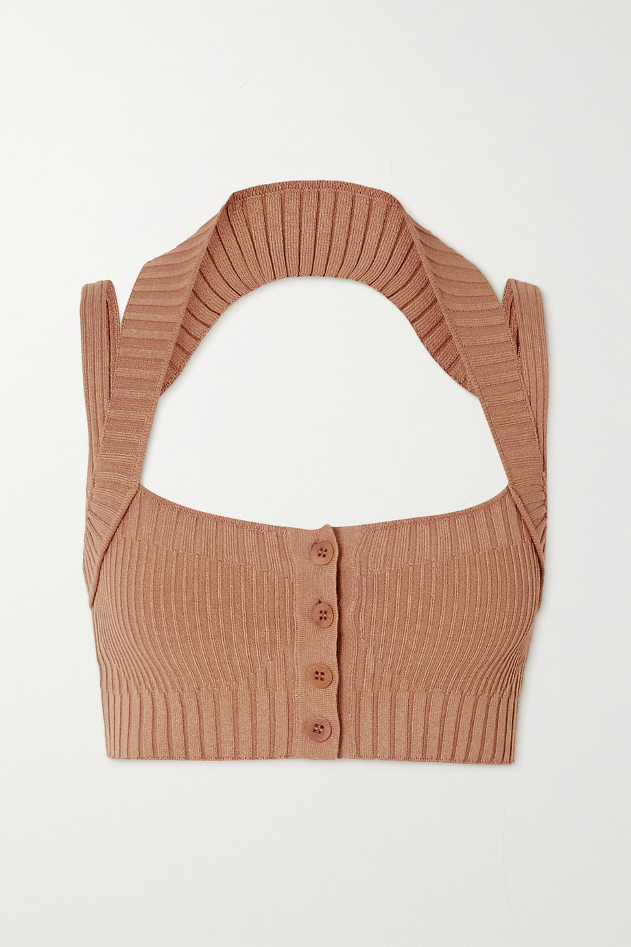 ANDREA ADAMO Cropped cutout ribbed-knit top