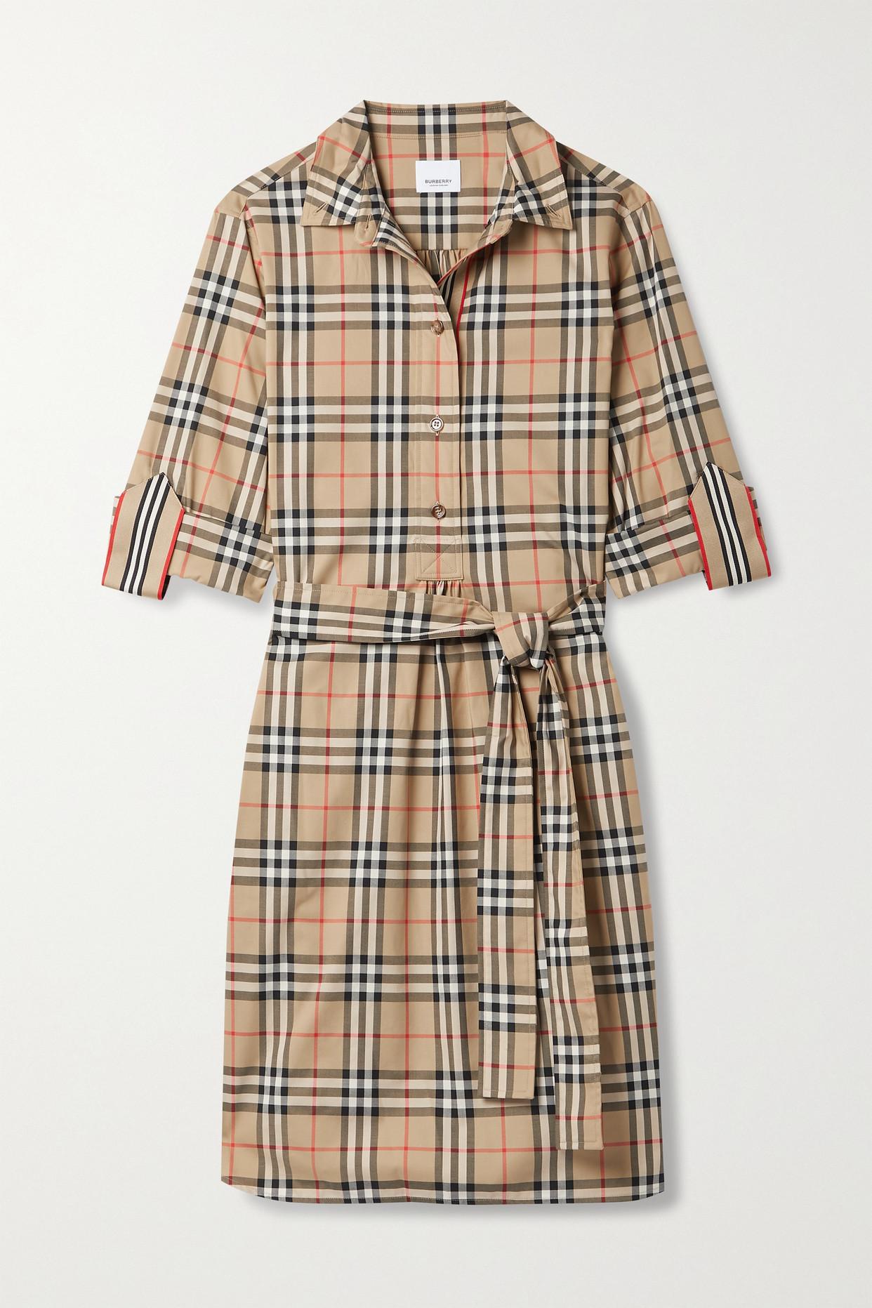BURBERRY - + Net Sustain Belted Checked Cotton-blend Poplin Mini Shirt Dress - Brown - UK10