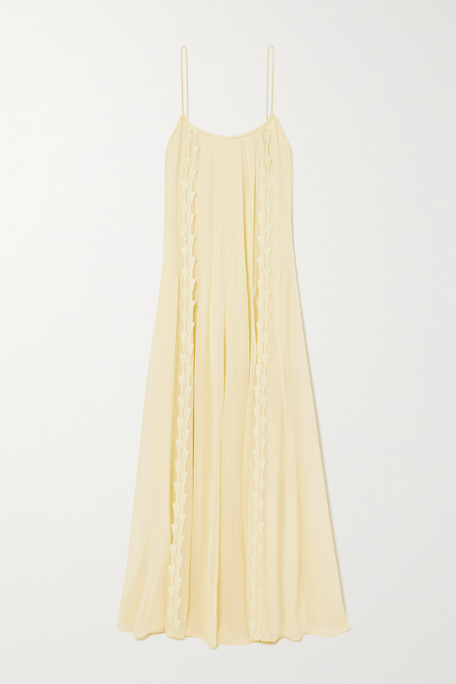 CHLOÉ Lace-trimmed pleated silk-georgette maxi dress