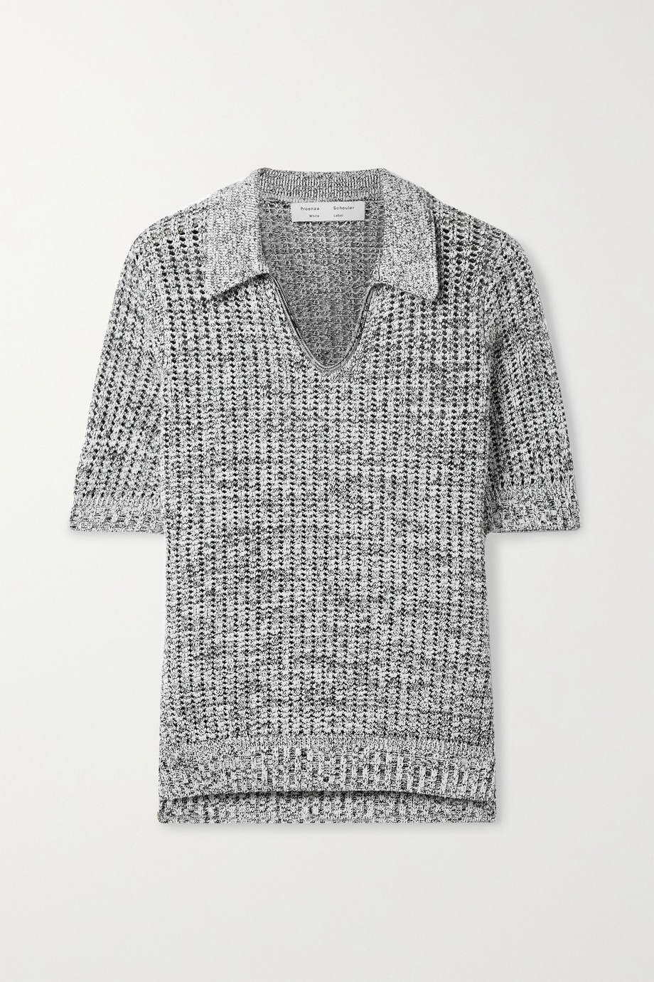 PROENZA SCHOULER WHITE LABEL Open-knit silk and cotton-blend polo top