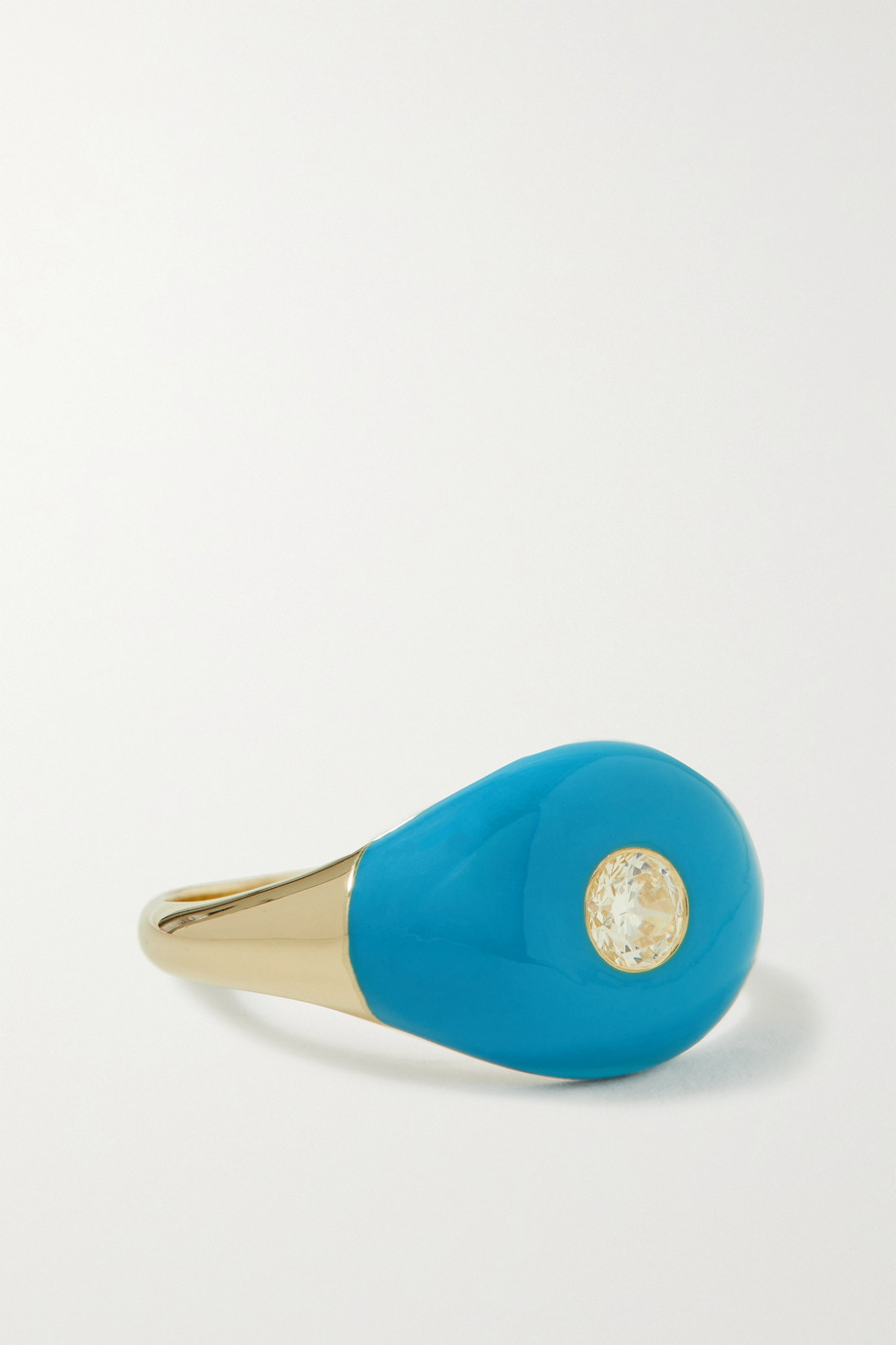 CHARMS COMPANY Les Bonbons 14-karat gold, enamel and quartz ring