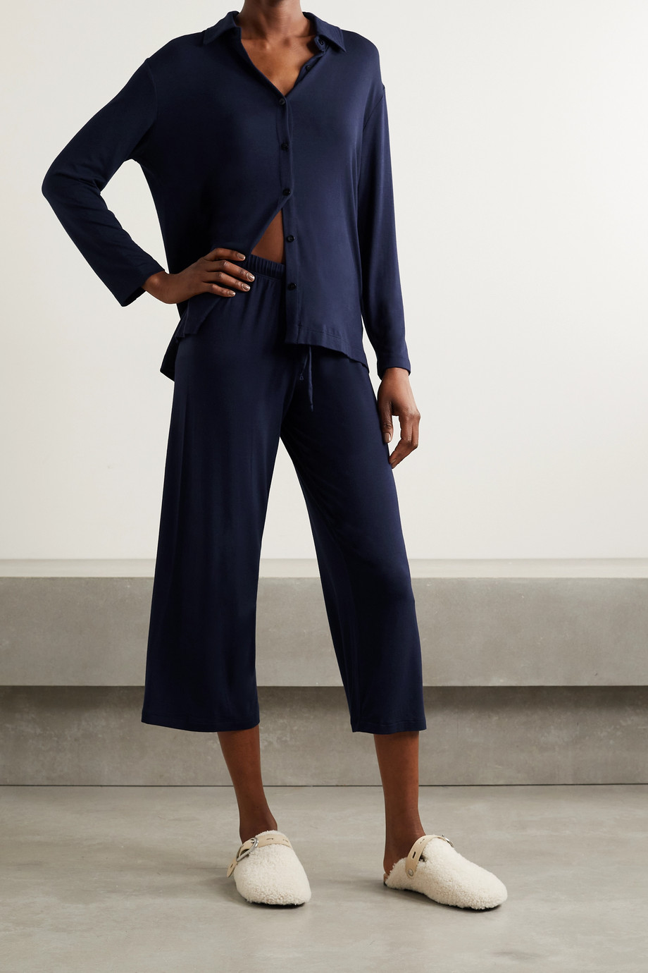 LESET Nora cropped stretch-modal pants
