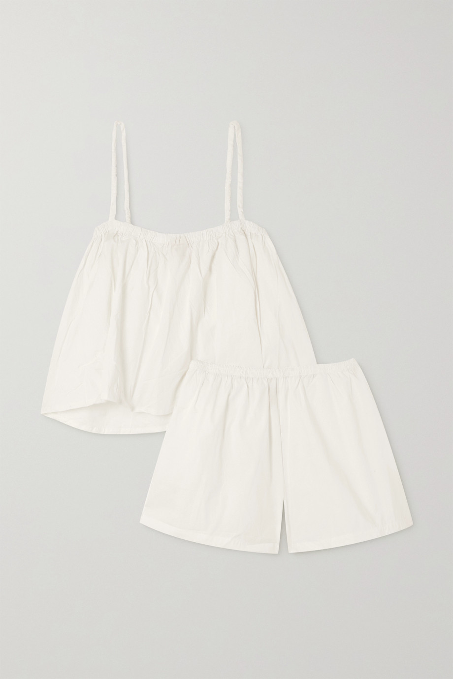 DEIJI STUDIOS Gathered organic cotton-poplin camisole and shorts set