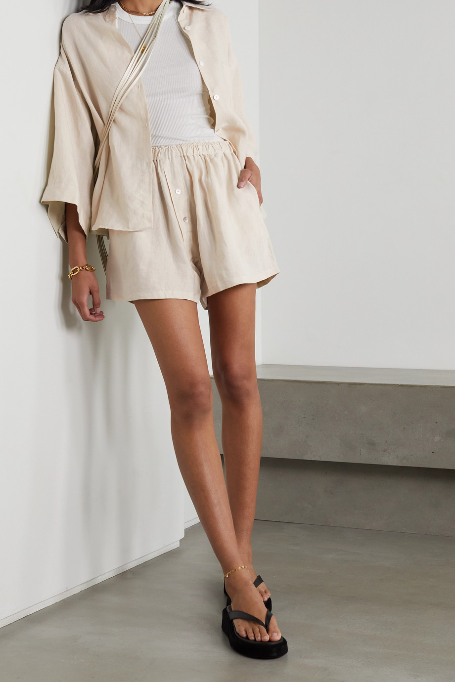 DEIJI STUDIOS The 03 washed-linen shirt and shorts set