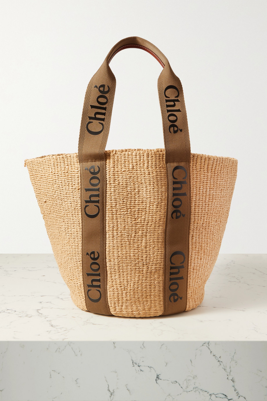 CHLOÉ Woody large printed canvas and leather-trimmed raffia tote