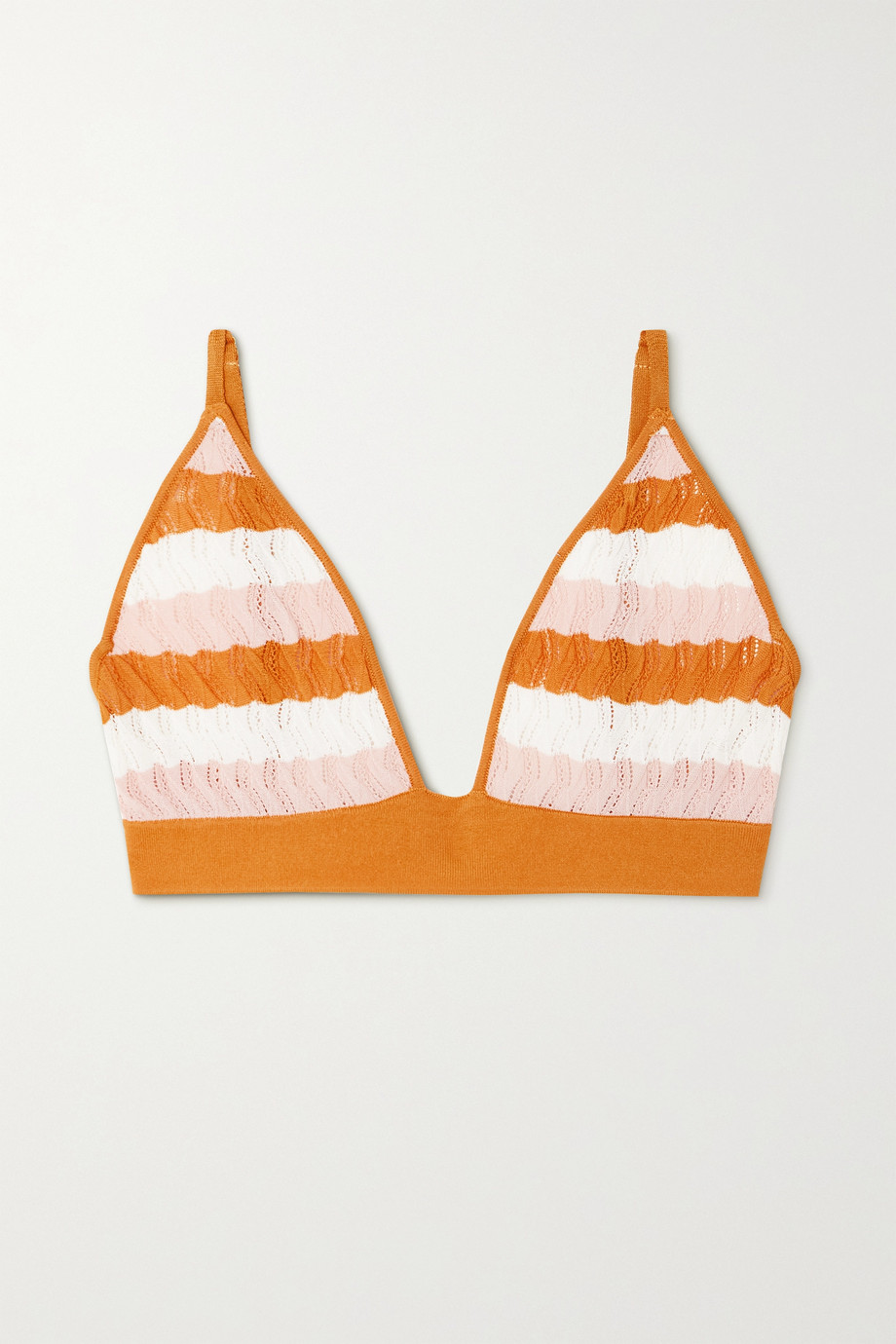 DODO BAR OR Robin striped pointelle-knit soft-cup triangle bra