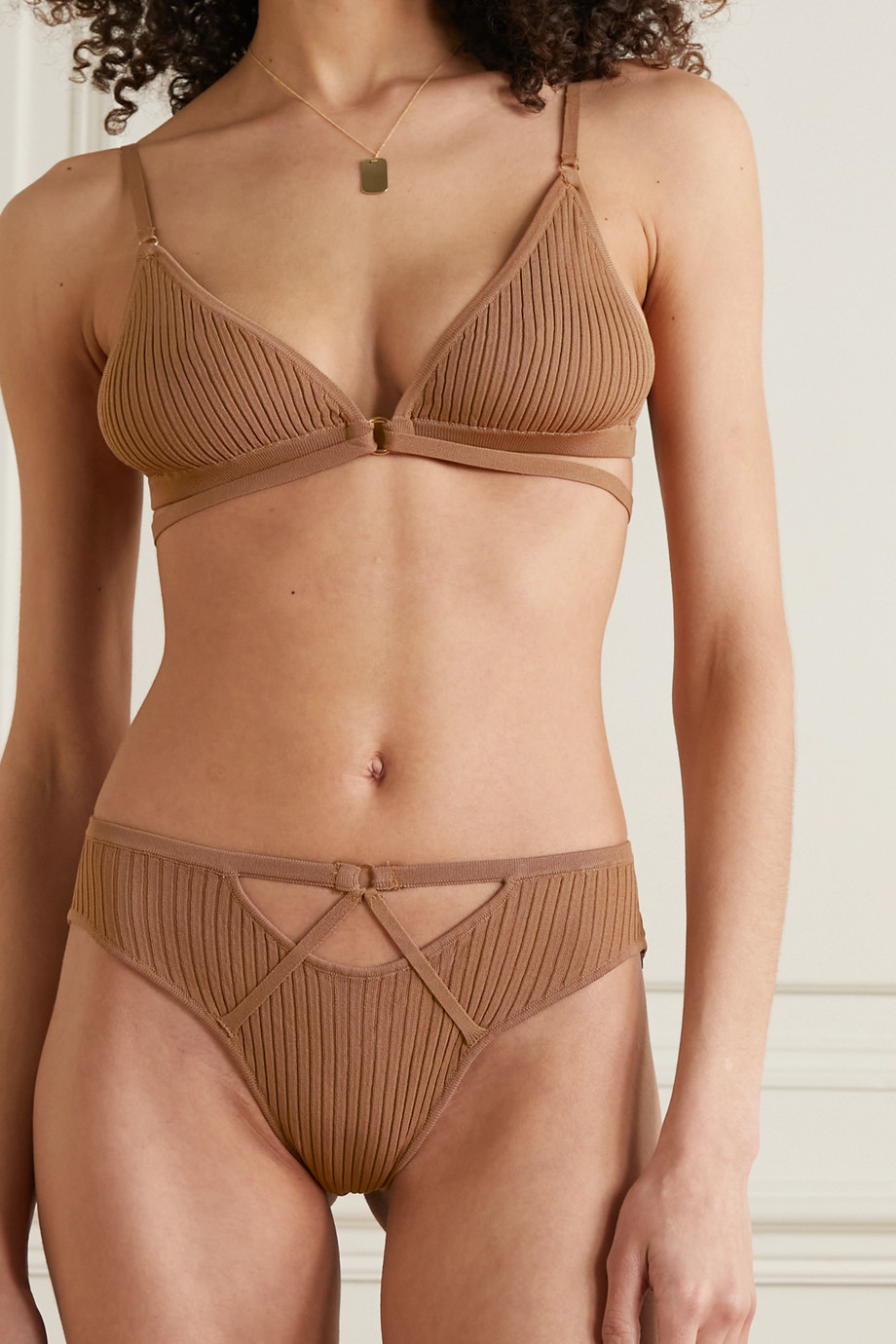 DODO BAR OR Goldie embellished ribbed-knit soft-cup triangle bra