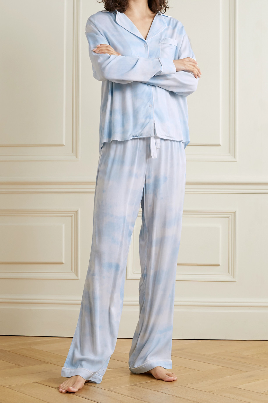 RAILS Clara piped printed twill pajama set