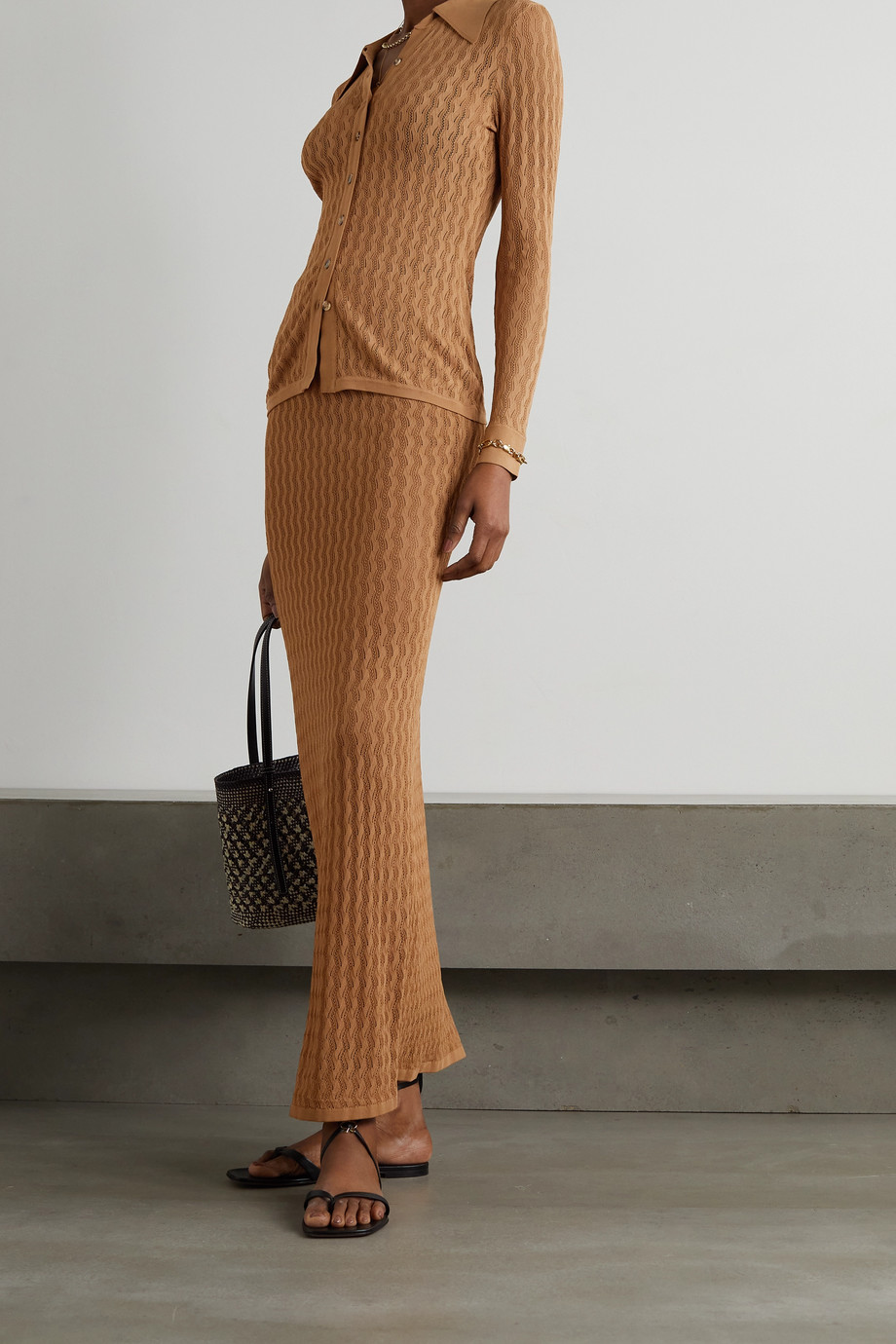 DODO BAR OR Diana pointelle-knit maxi skirt