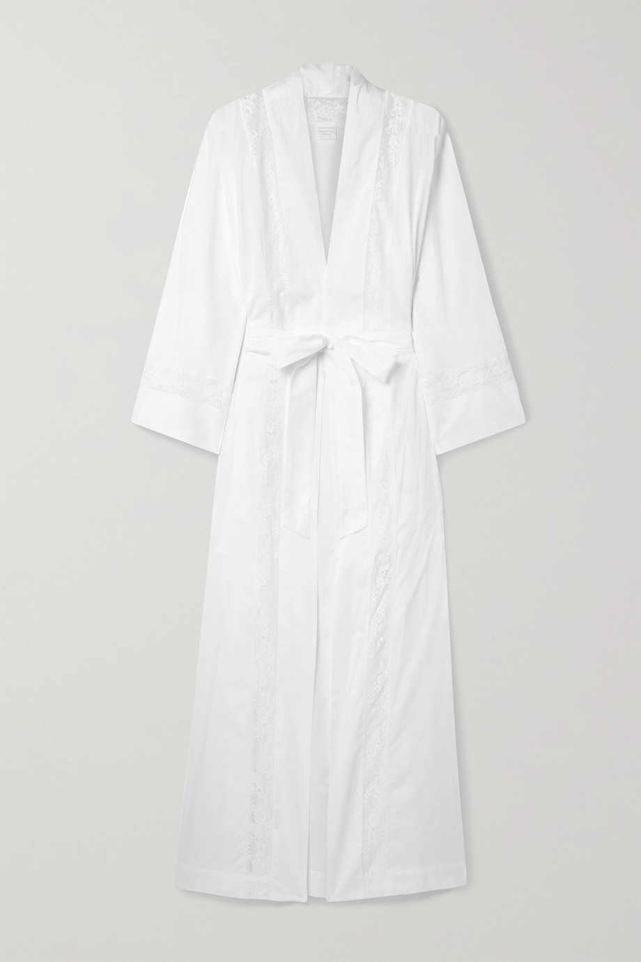 LORETTA CAPONI Clarice belted lace-paneled cotton-voile robe