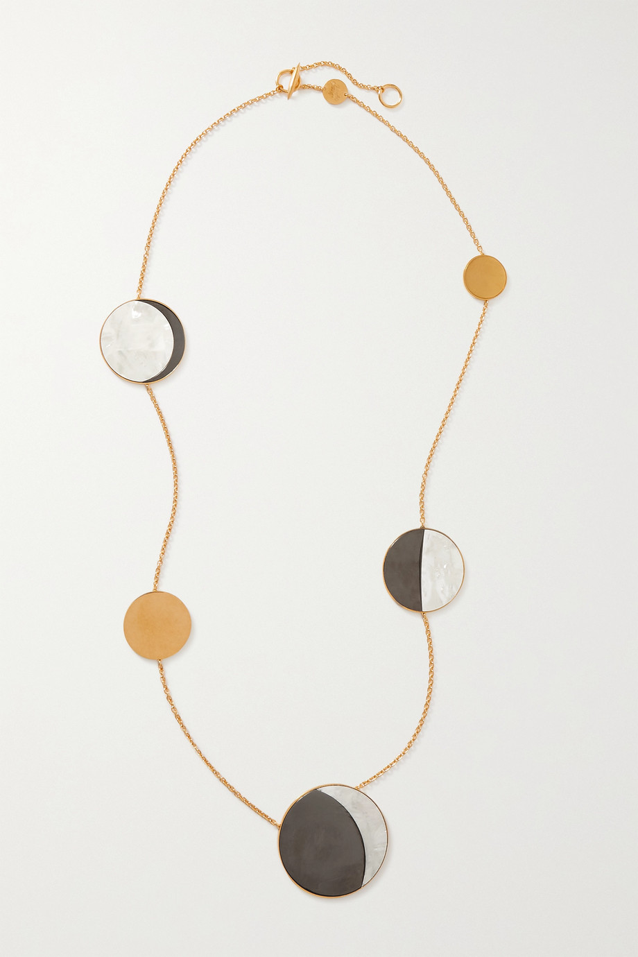 LOEWE + Paula's Ibiza Ellipse gold-tone, acrylic and mother-of-pearl necklace