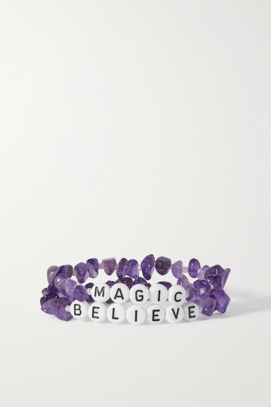 TBALANCE CRYSTALS Set of two amethyst and enamel bracelets