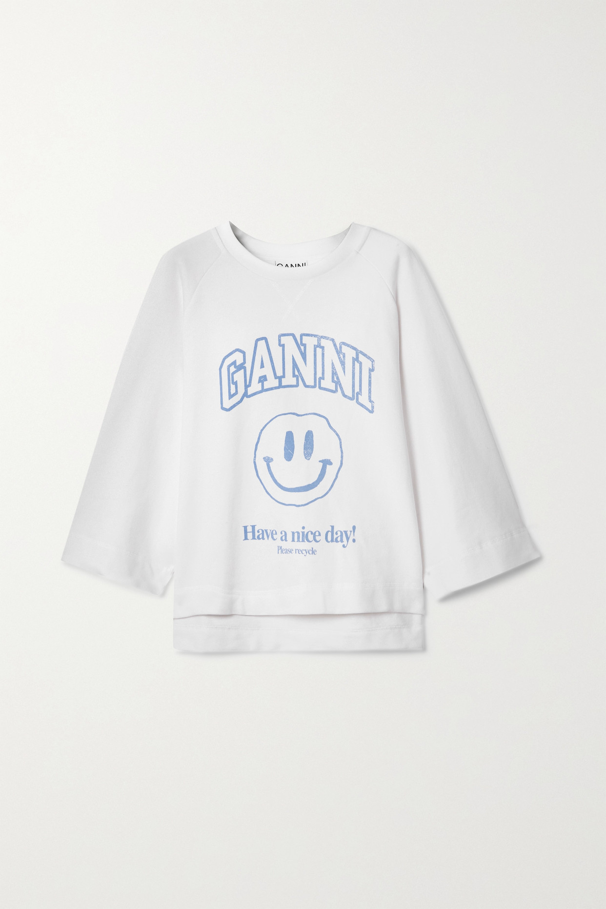 Ganni Isoli Printed Recycled Cotton-blend Jersey Sweatshirt In Gray