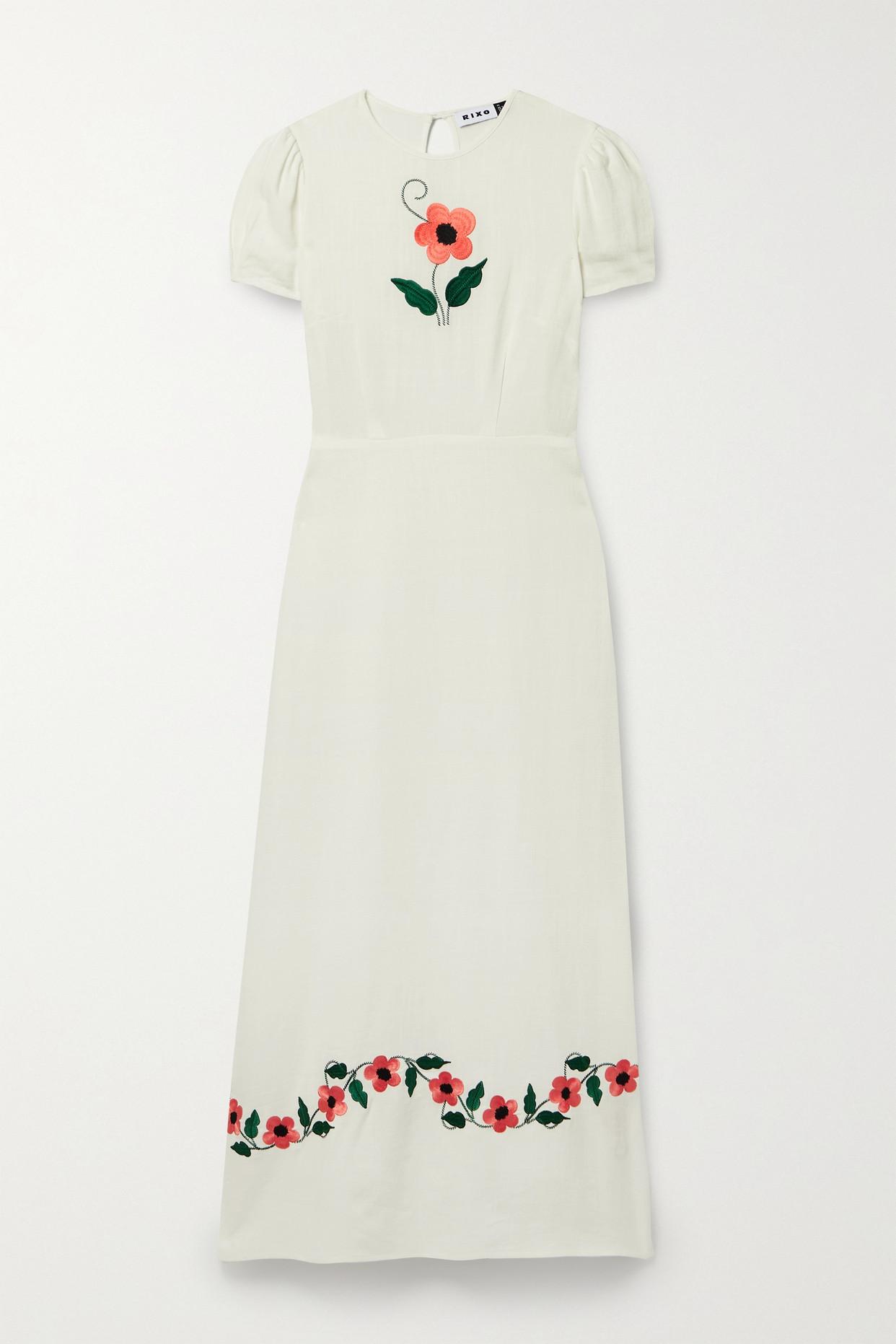 Rixo London Aurelia Embroidered Voile Maxi Dress In White