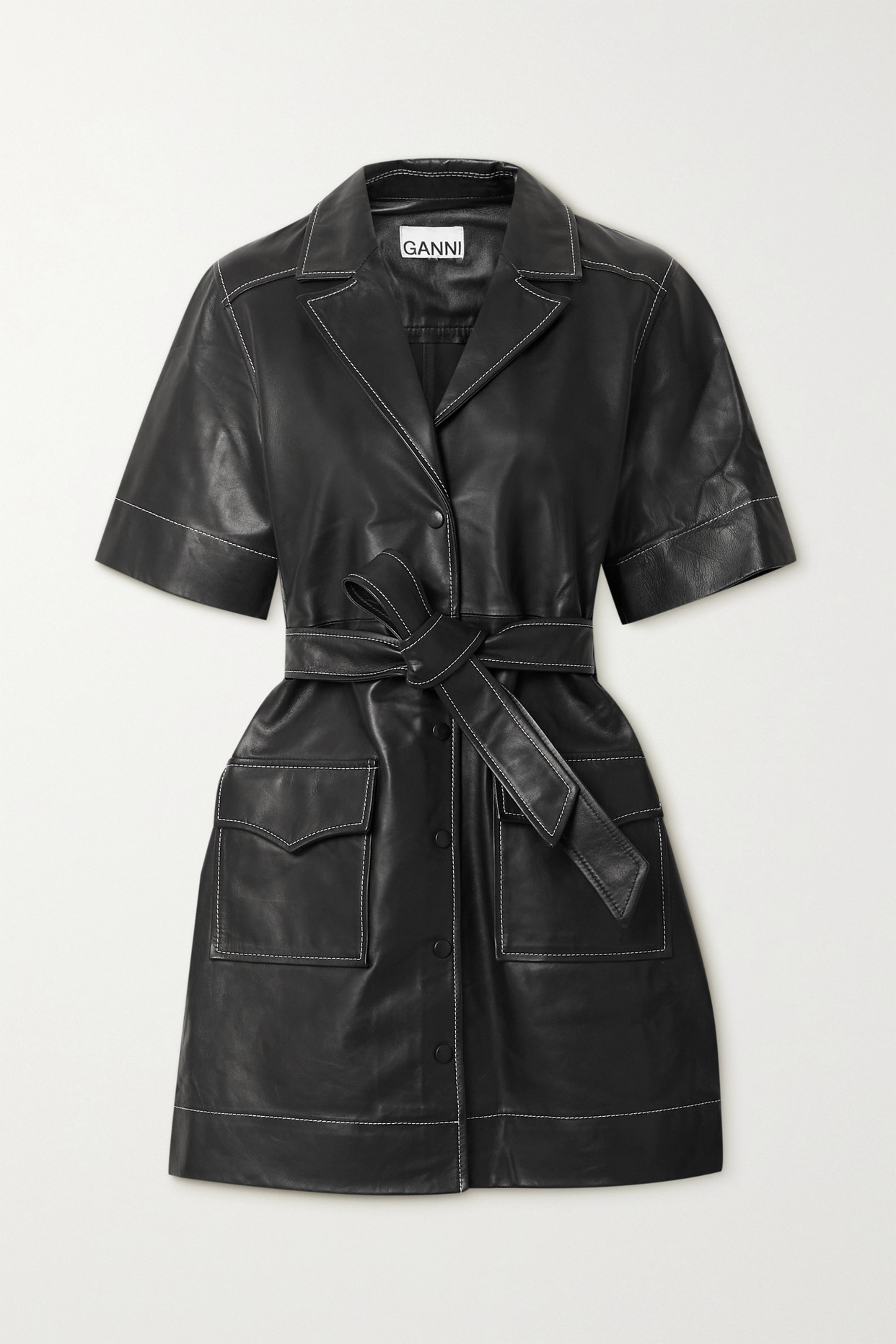 Ganni Belted Leather Mini Dress In Black