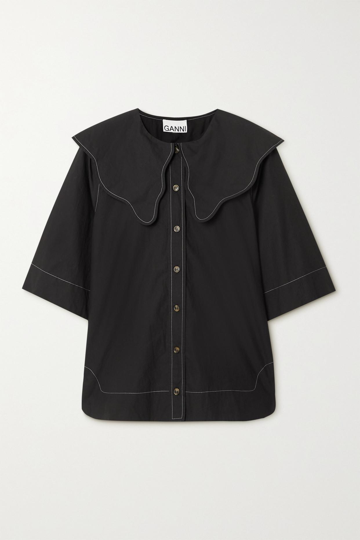 Ganni Organic Cotton-poplin Shirt In Black