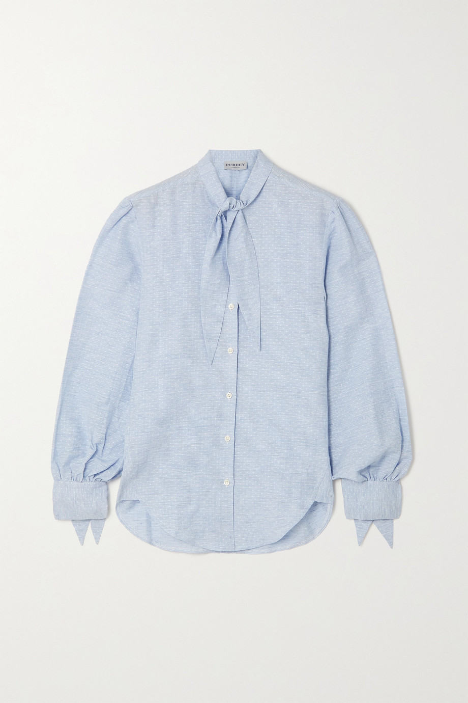 PURDEY Tie-detailed linen and cotton-blend jacquard shirt