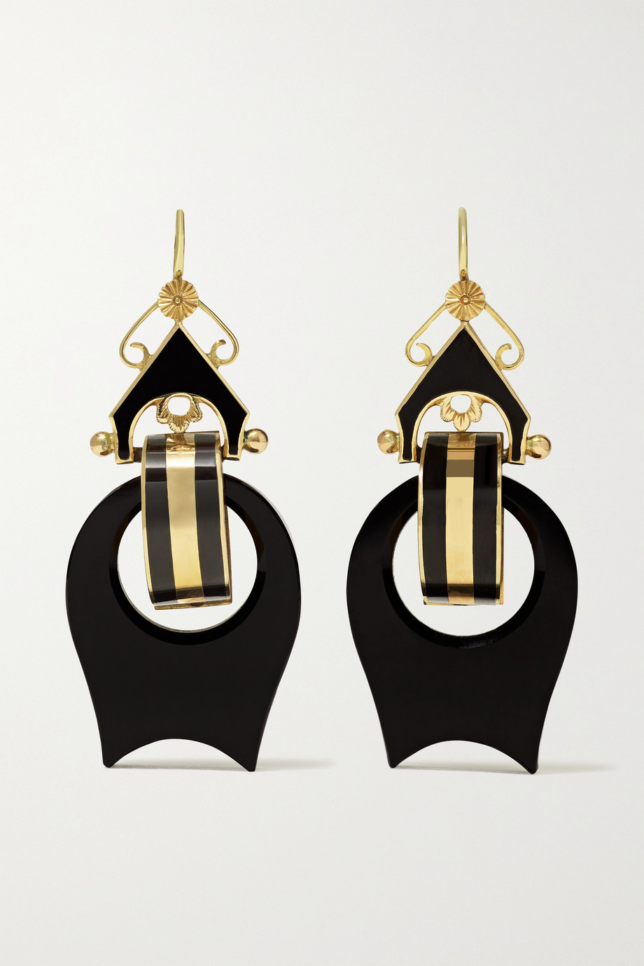 FRED LEIGHTON Victorian gold, onyx and enamel earrings