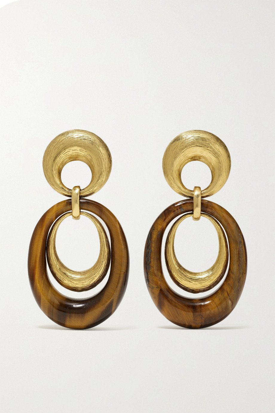 FRED LEIGHTON 1970s 18-karat gold tiger's eye clip earrings
