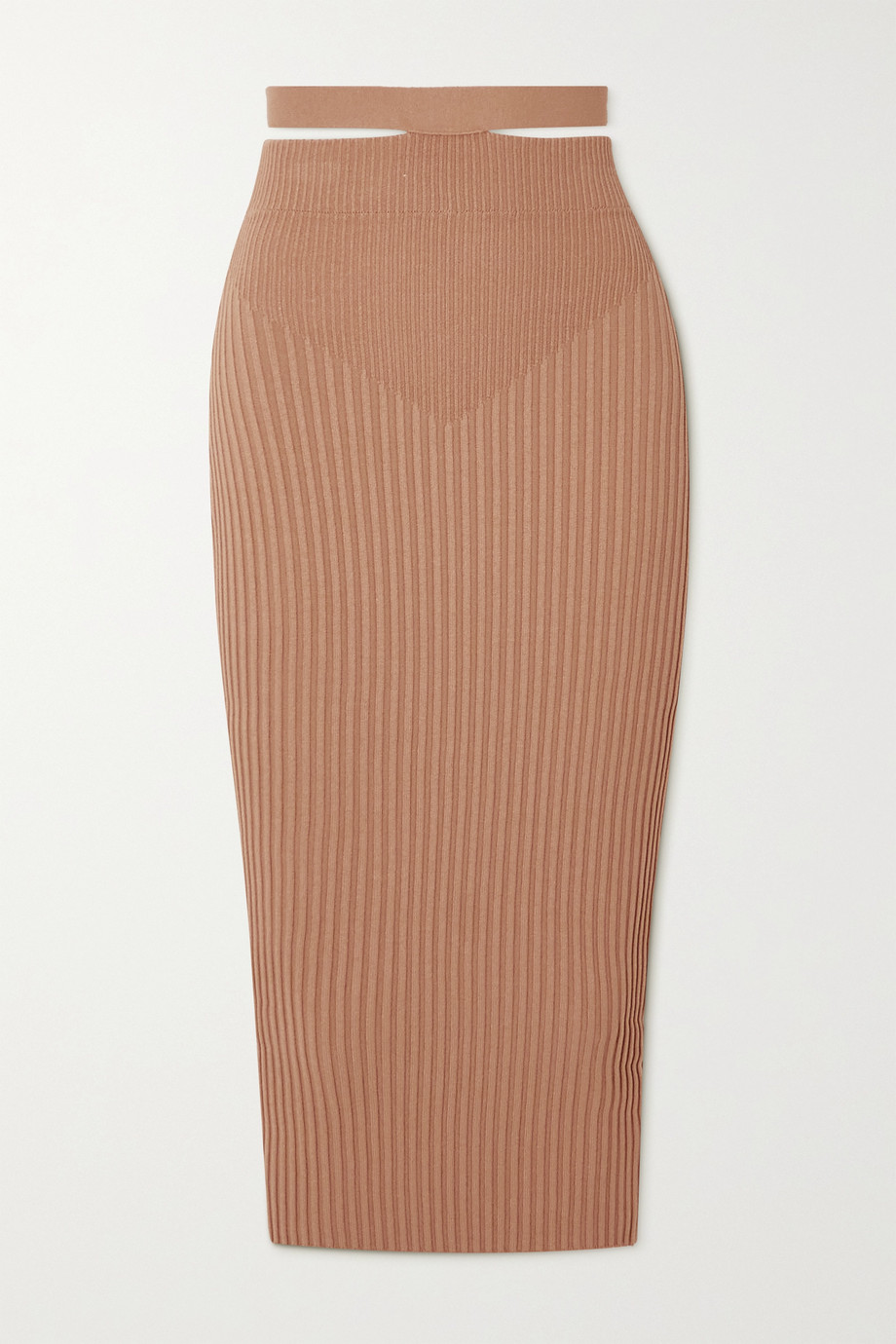 ANDREA ADAMO Cutout ribbed-knit midi skirt