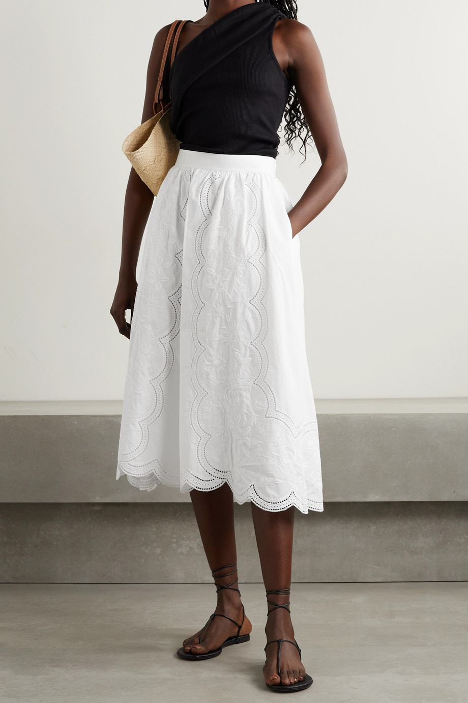 TORY BURCH Scalloped broderie anglaise cotton-poplin skirt