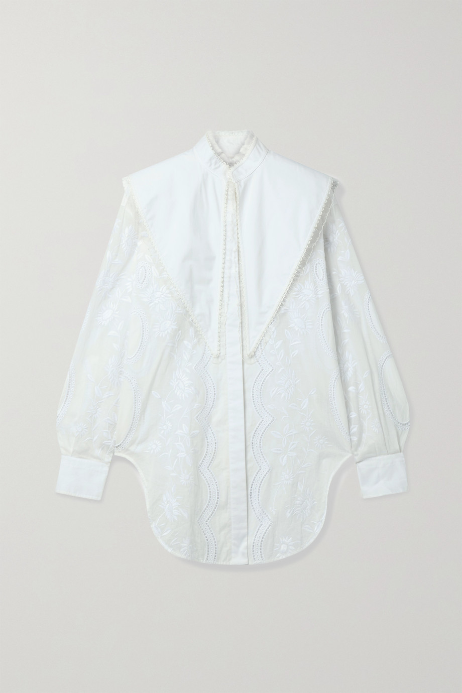 TORY BURCH Broderie anglaise cotton-voile and poplin blouse