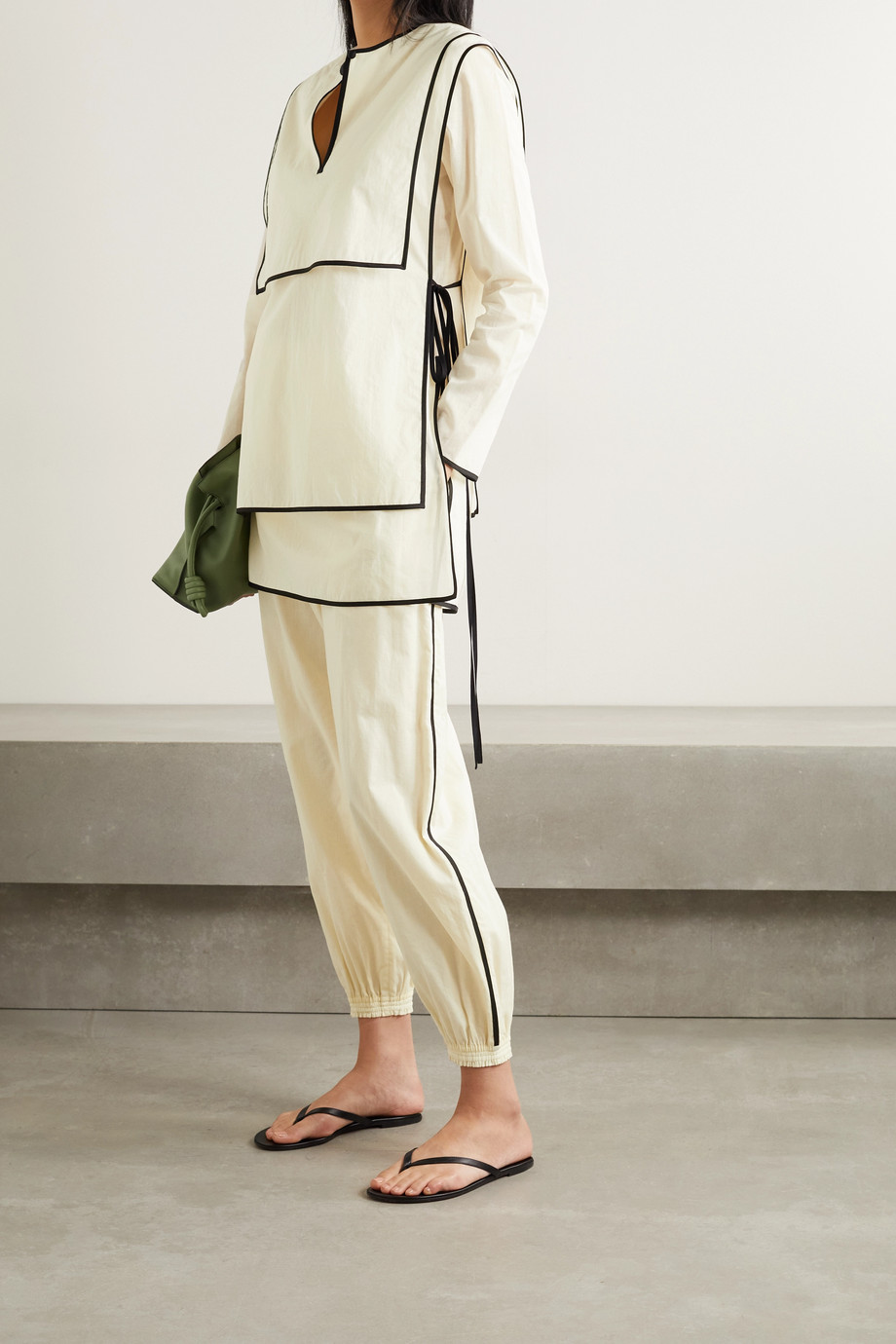 TORY BURCH Piped cotton-voile track pants