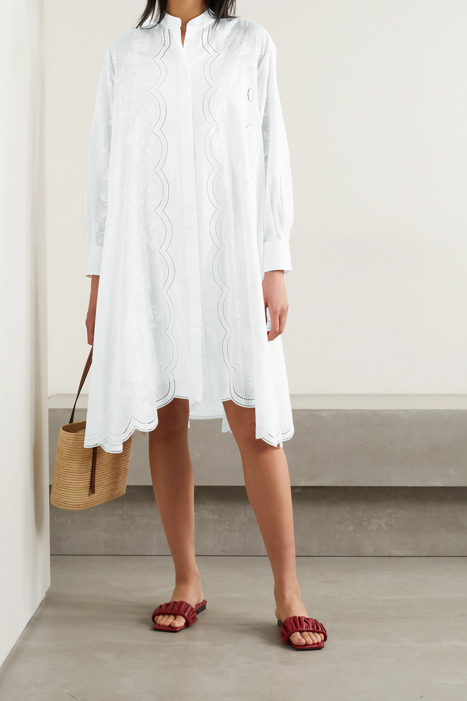 TORY BURCH Scalloped broderie anglaise cotton-voile shirt dress