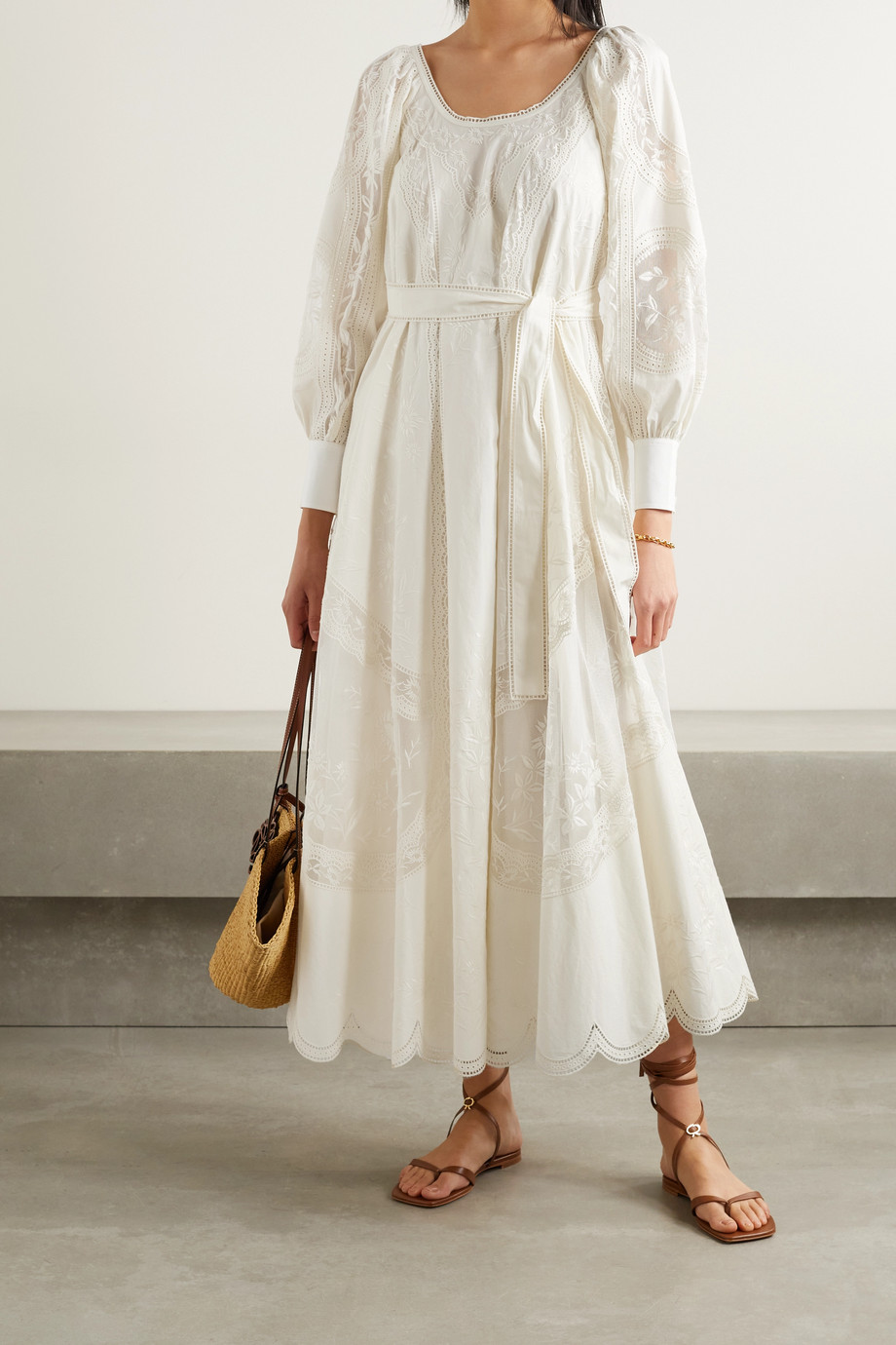 TORY BURCH Scalloped broderie anglaise cotton-poplin and tulle maxi dress