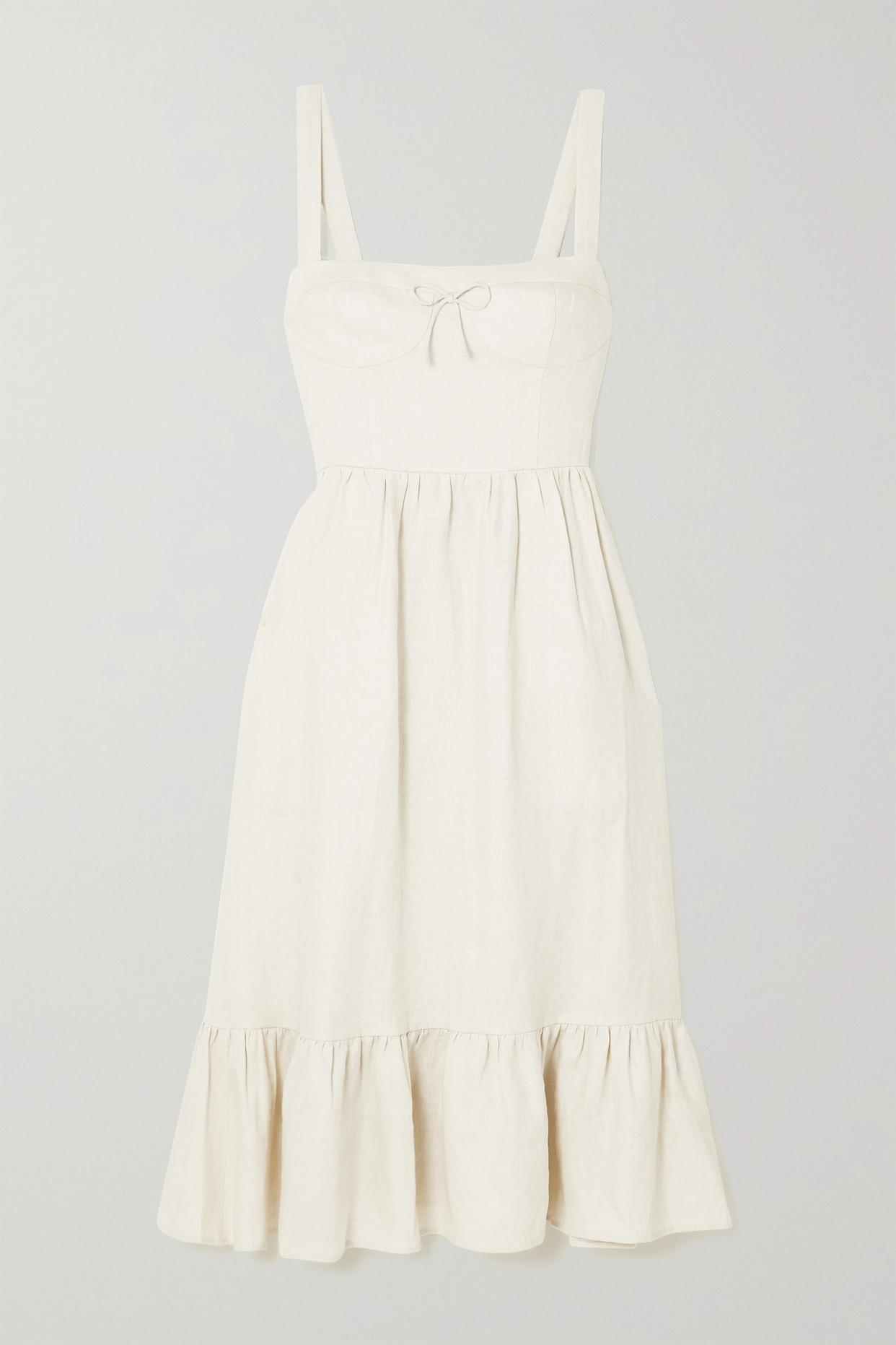 REFORMATION - Maegan Shirred Linen Midi Dress - Cream - US10