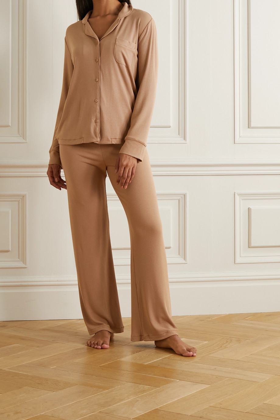 SKIMS Ribbed stretch-modal jersey lounge set - Camel