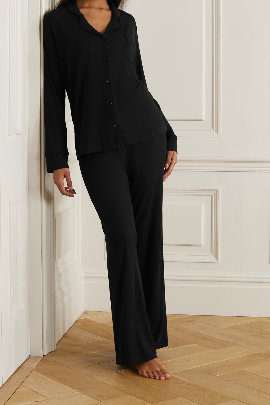 SKIMS Ribbed stretch-modal jersey lounge set - Onyx