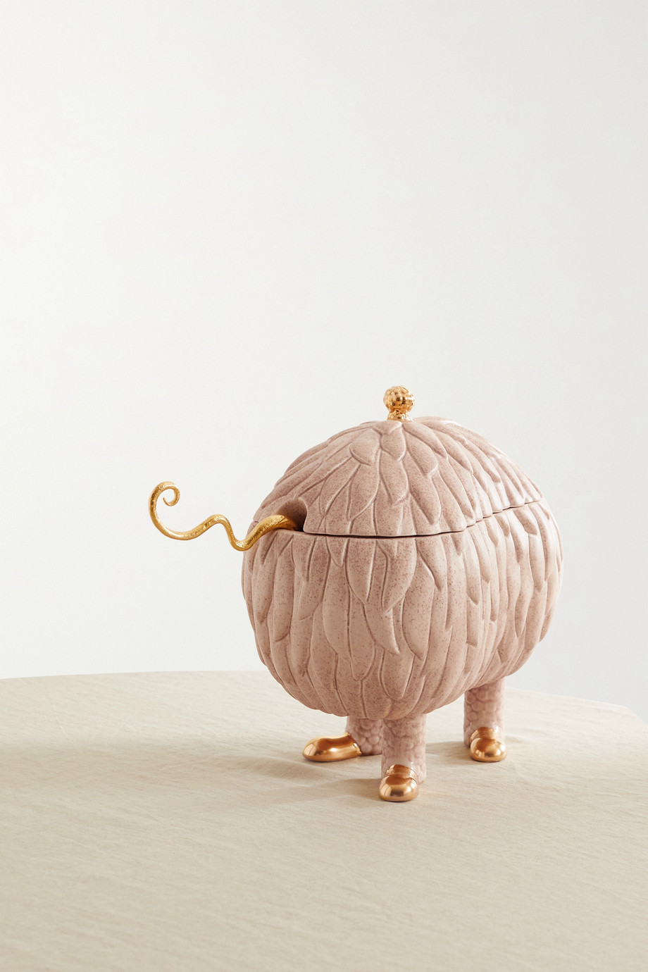 L'OBJET + Haas Brothers Lukas Soup Monster gold-plated earthenware tureen set