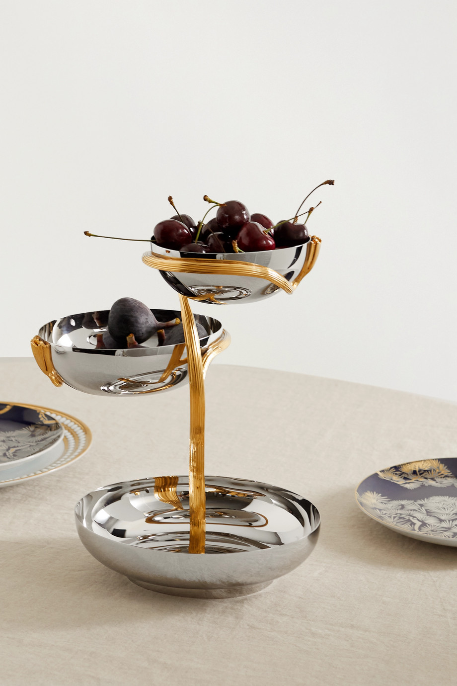 L'OBJET Deco Leaves medium gold-plated stainless steel server