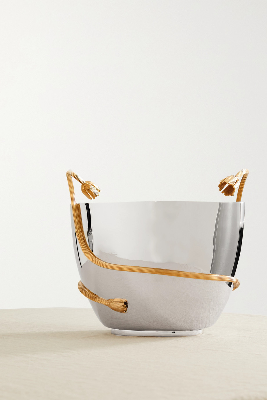 L'OBJET Deco Leaves gold-plated stainless steel champagne bucket