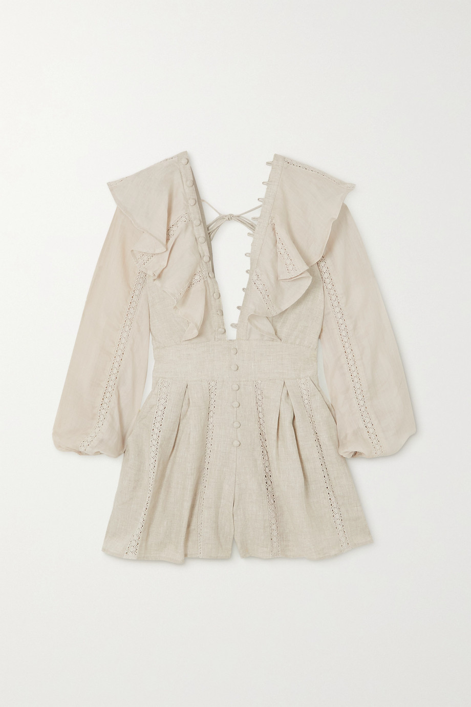 JOSLIN + NET SUSTAIN Maxine ruffled linen and ramie playsuit