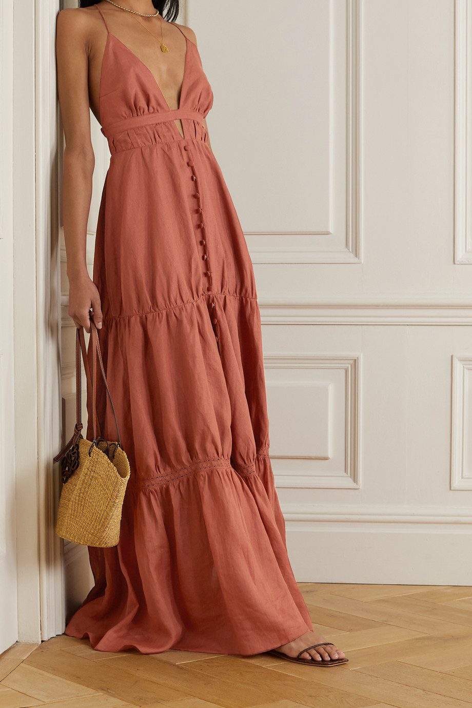 JOSLIN + NET SUSTAIN Liana tiered linen maxi dress
