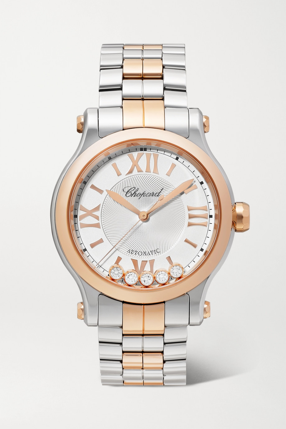 CHOPARD Happy Sport Automatic 33mm 18-karat rose gold, stainless steel and diamond watch