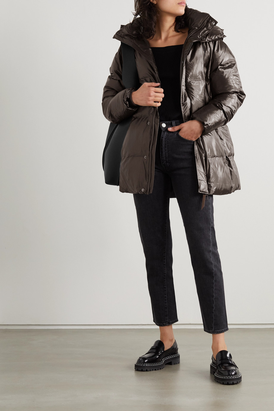 RAINS Hooded quilted padded glossed-shell coat