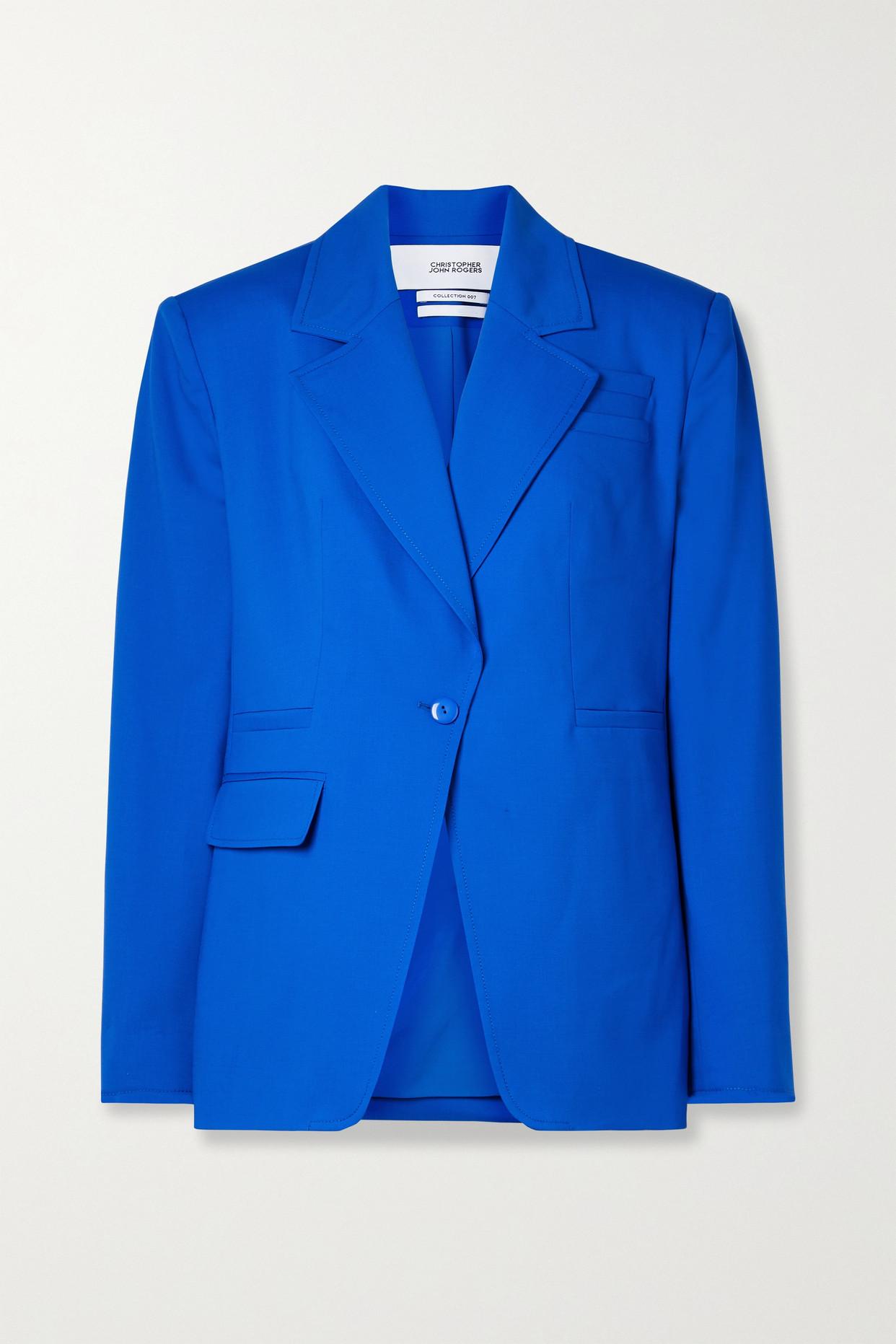 CHRISTOPHER JOHN ROGERS - 羊毛混纺西装外套 - 蓝色 - US4