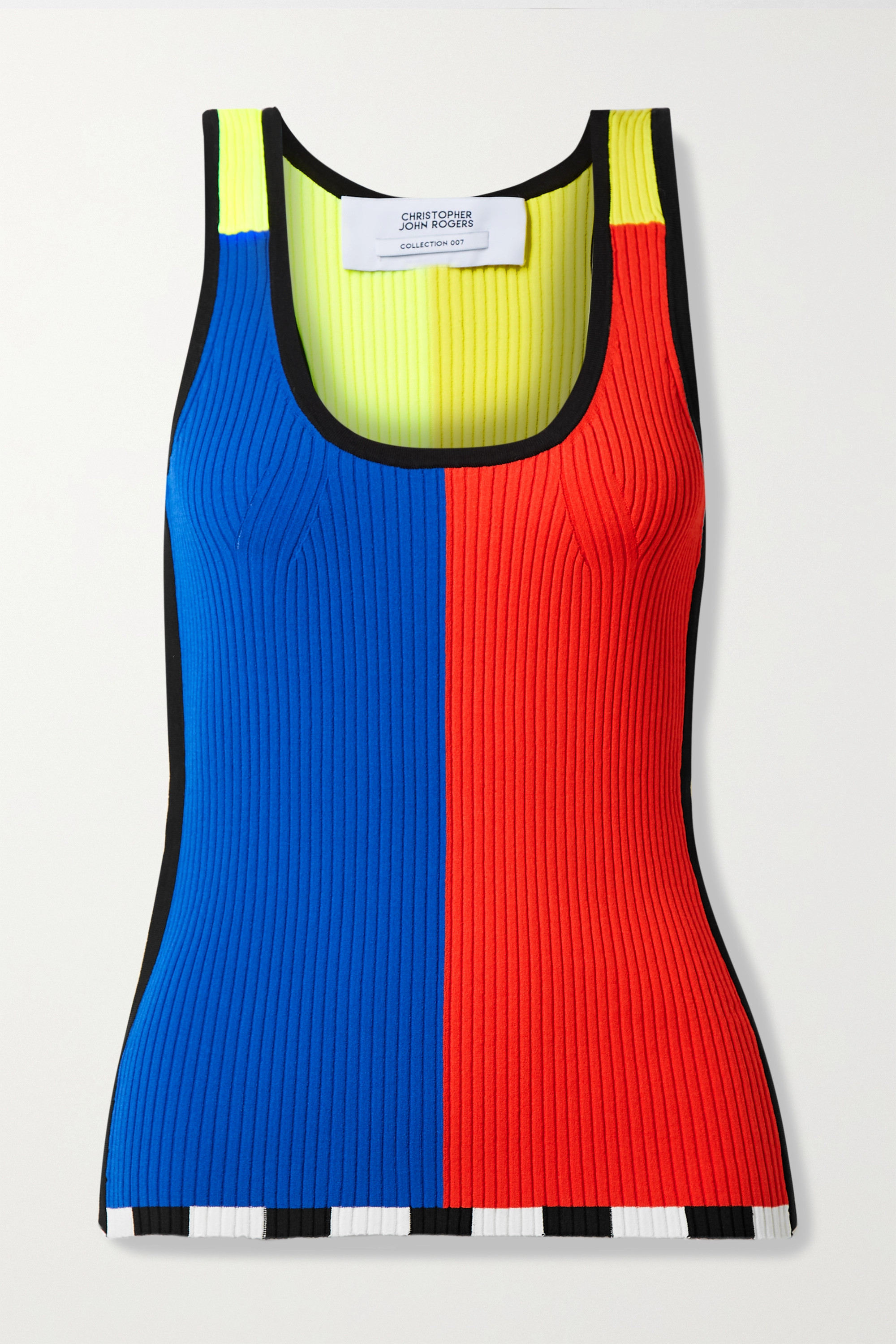 CHRISTOPHER JOHN ROGERS Color-block ribbed-knit tank