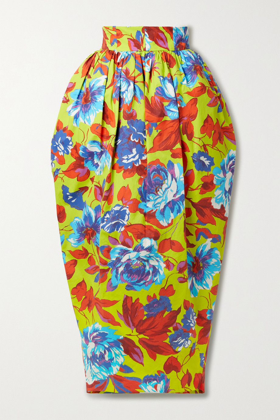 CHRISTOPHER JOHN ROGERS Pleated floral-print cotton-twill maxi skirt