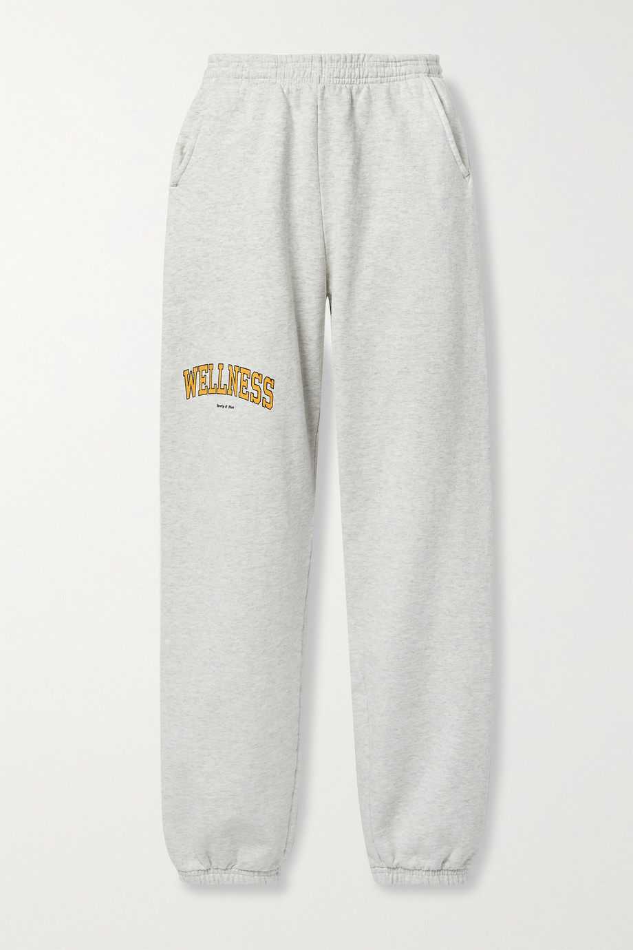SPORTY & RICH Wellness Ivy printed mélange cotton-jersey track pants
