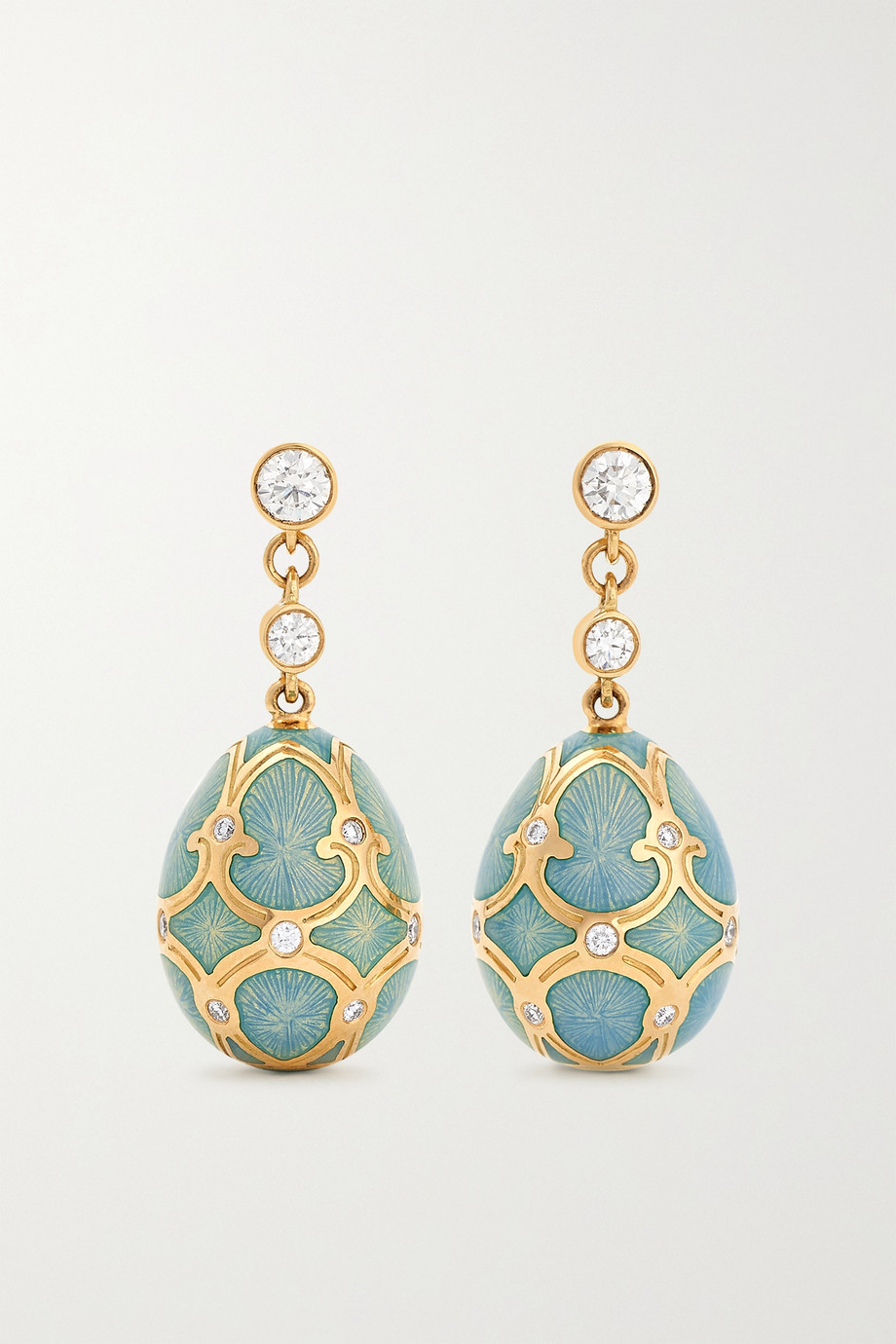 FABERGÉ Heritage 18-karat gold, enamel and diamond earrings