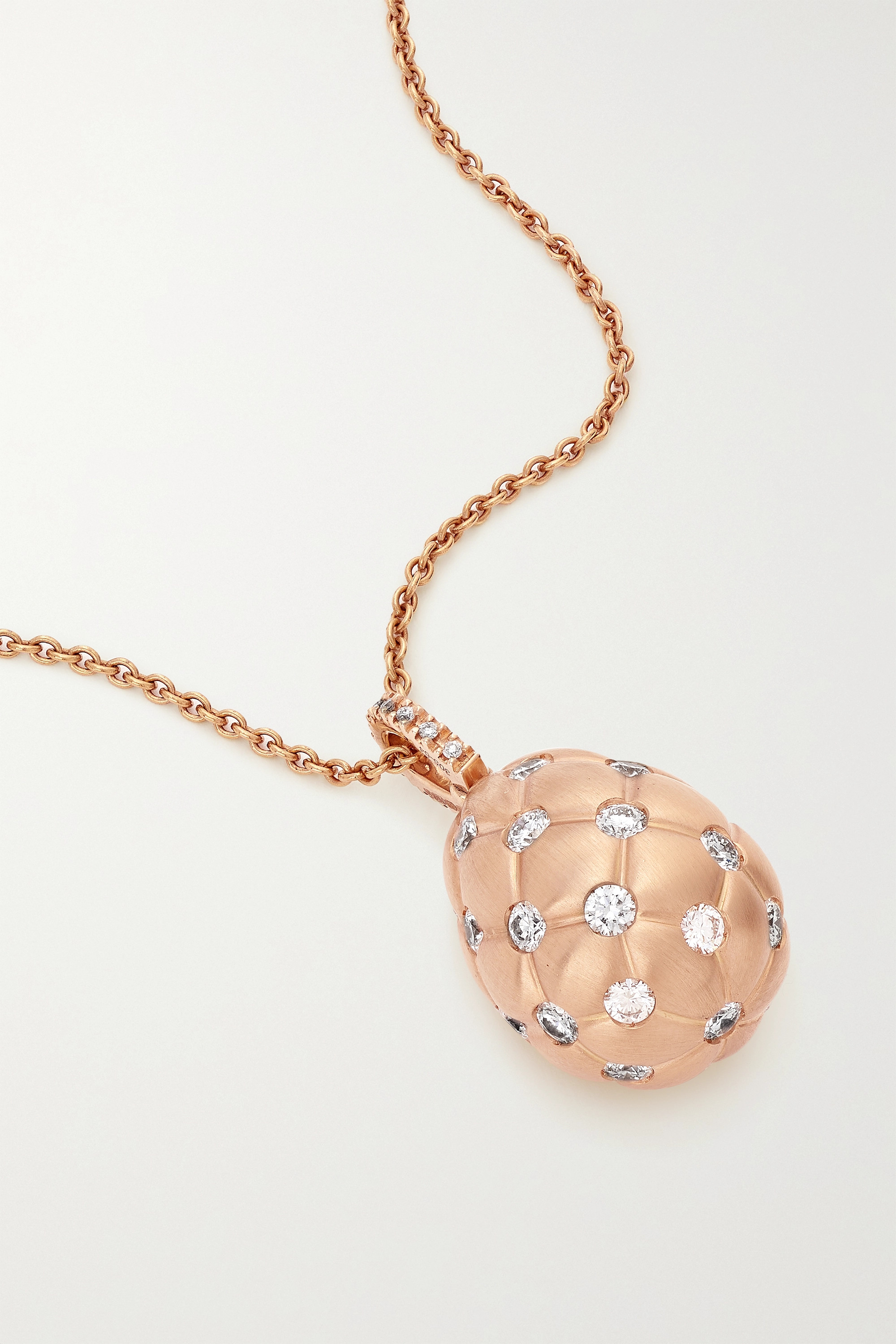 FABERGÉ Treillage 18-karat rose gold diamond necklace