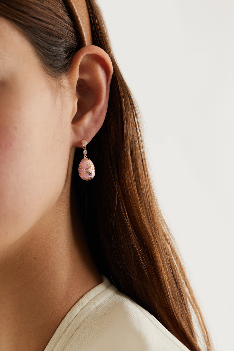 FABERGÉ Heritage 18-karat rose gold, enamel and diamond earrings